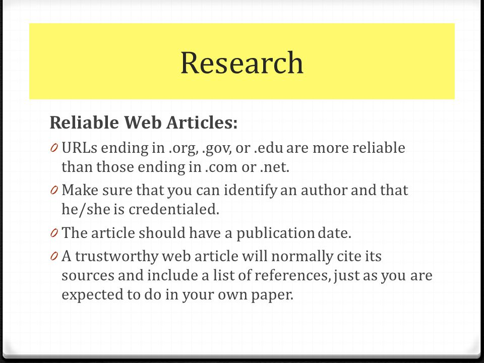 Credible Websites For Research Papers