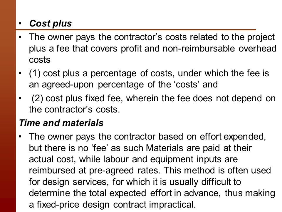 Time and materials construction contract time and for Cost plus building contract template