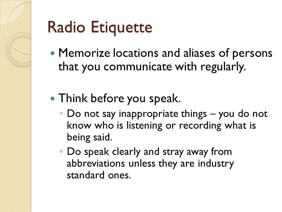 Radio etiquette - September 2018 Wholesale