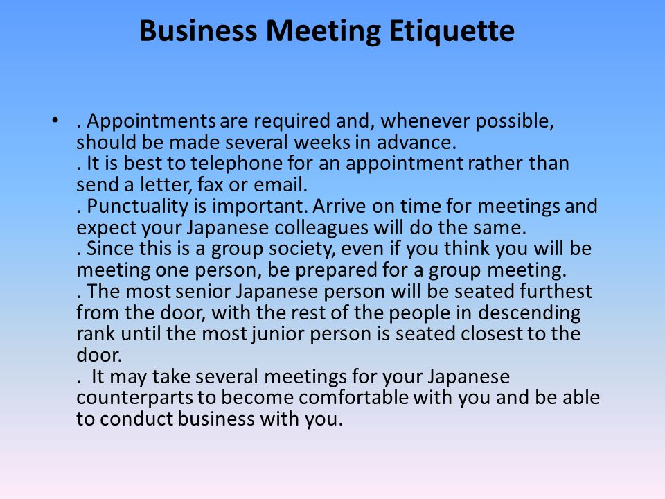 Japan language culture customs and etiquette ppt video online business meeting etiquette m4hsunfo Gallery
