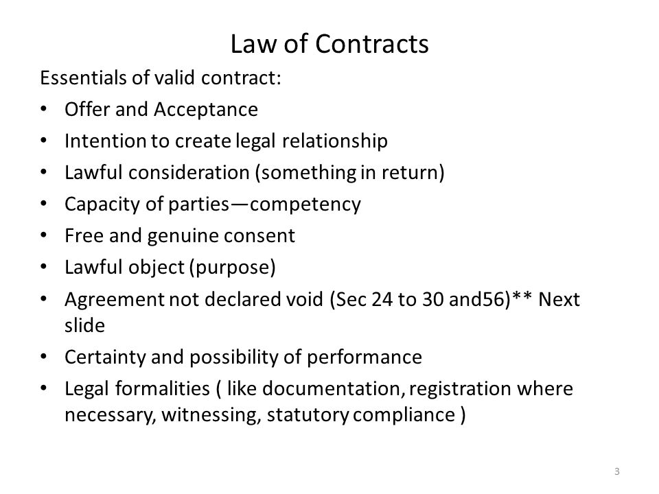 Unit 5 Contract law: Topic 2 Common law elements of contracts