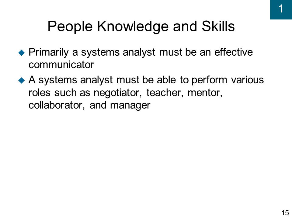 system analyst skills and knowledge Thanks for the feedback i thought about incorporating the soft skills into the general ba area, but i've seen too many examples of analysts who had great analytical skills, but weren't necessarily successful in the role because they lacked those soft, interpersonal skills.