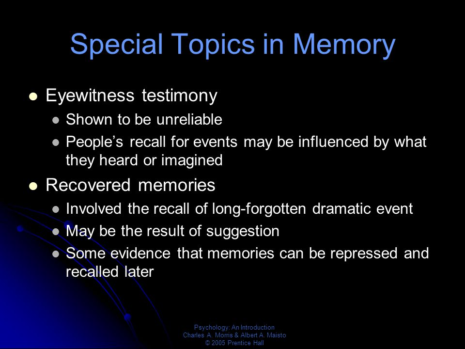 Memory recollection in eyewitness testimony