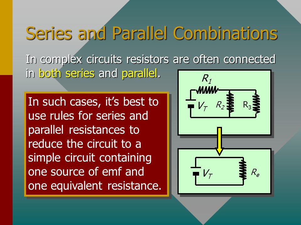 series parallel combinations Combination circuit  a combination circuit is one that has a combination of series and parallel paths for the electricity to flow its properties are a combination of the two in this example, the parallel section of the circuit is like a sub-circuit and actually is part of an over-all series circuit.