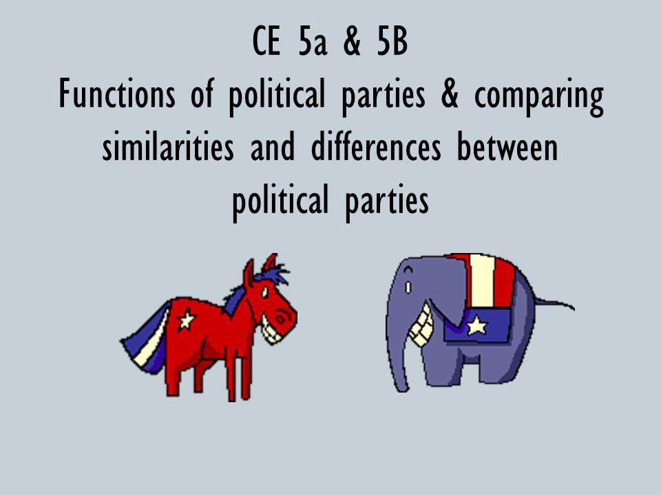 CE 5a & 5B Functions of political parties & comparing similarities and differences between political parties