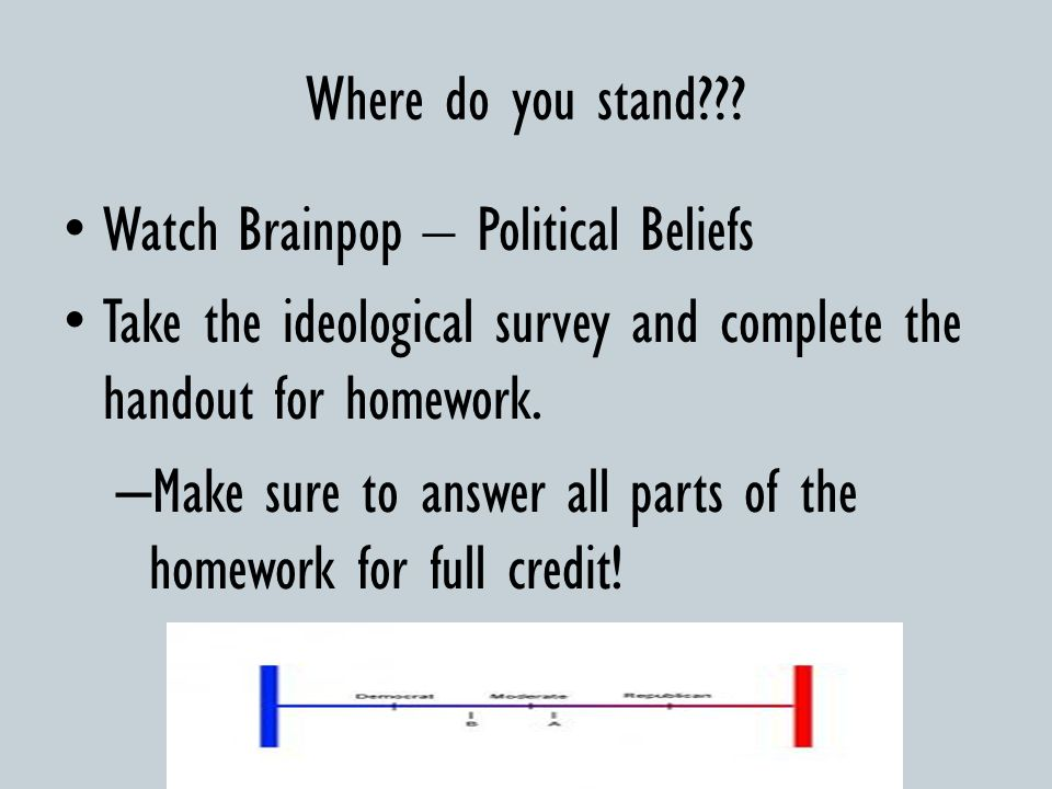 Where do you stand Watch Brainpop – Political Beliefs. Take the ideological survey and complete the handout for homework.