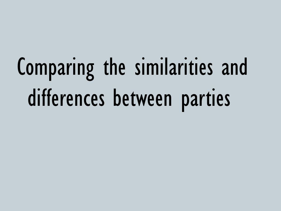 Comparing the similarities and differences between parties