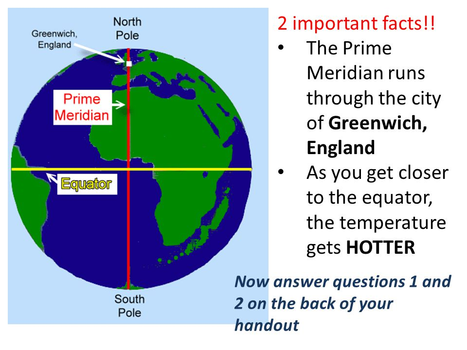 Map and globe skills day 3 ppt video online download the prime meridian runs through the city of greenwich england sciox Choice Image