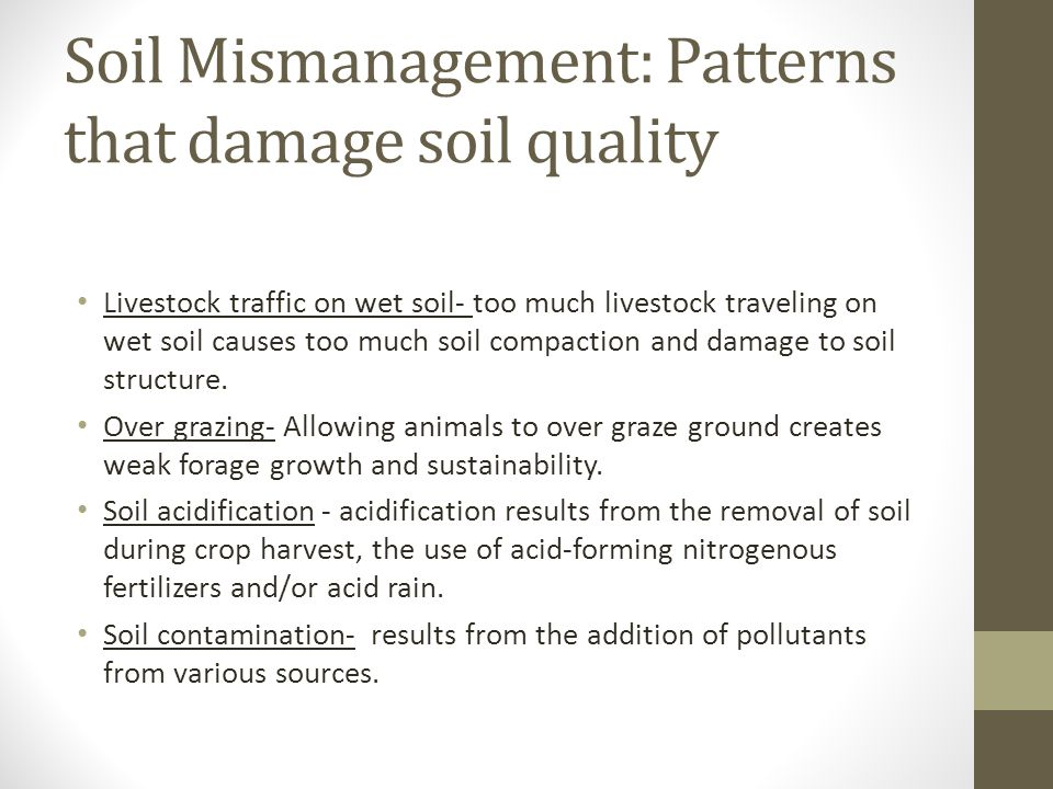Introduction to soil types structure and pasture for Soil quality parameters