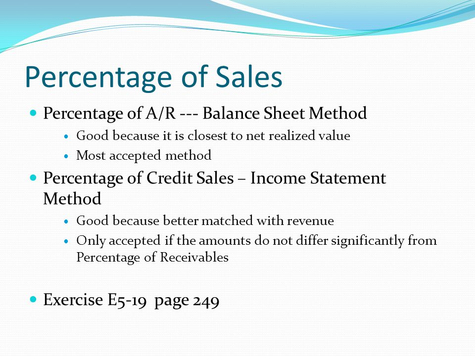 percentage sales method Forecasting using percent of sales please note that the % of sales method is based on the assumption that you are operating at full capacity also.