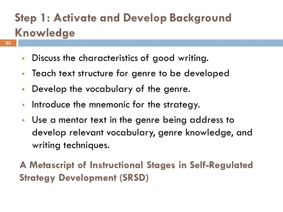 writers use their background knowledge to This background knowledge (understanding author's styles) aids comprehension it also demonstrates how students can apply strategies in their own writing procedures: after reading a selection, students revisit the text to collect samples of writing strategies.