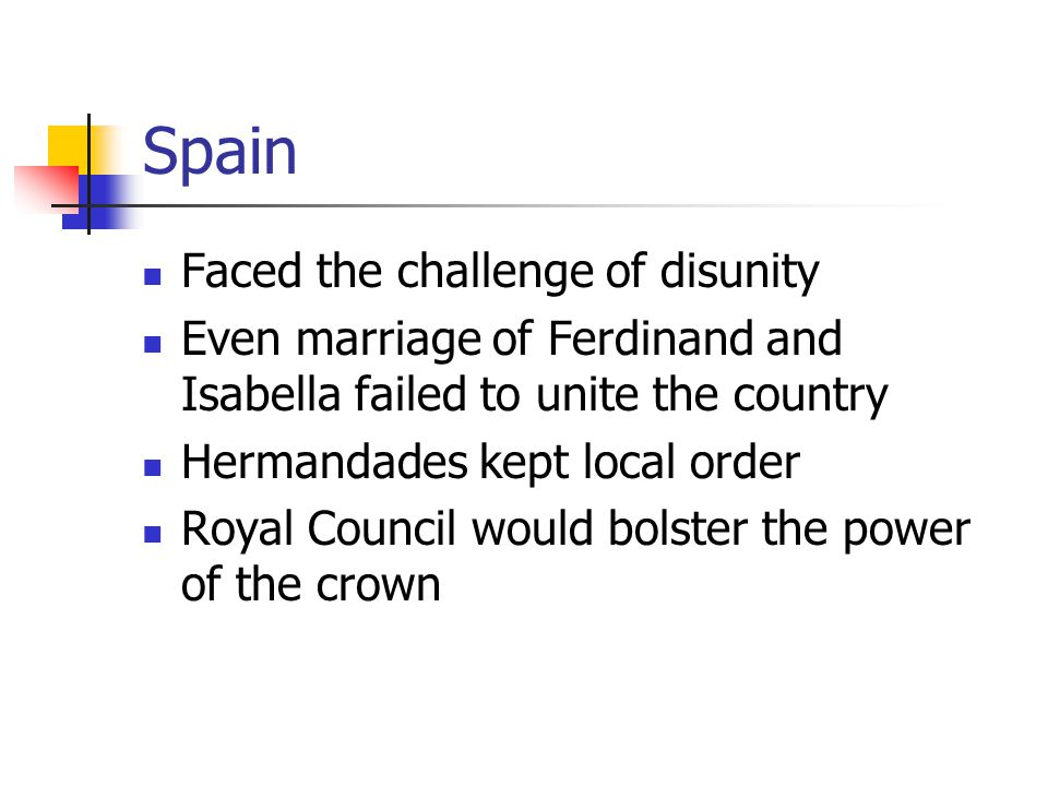 Spain Faced the challenge of disunity