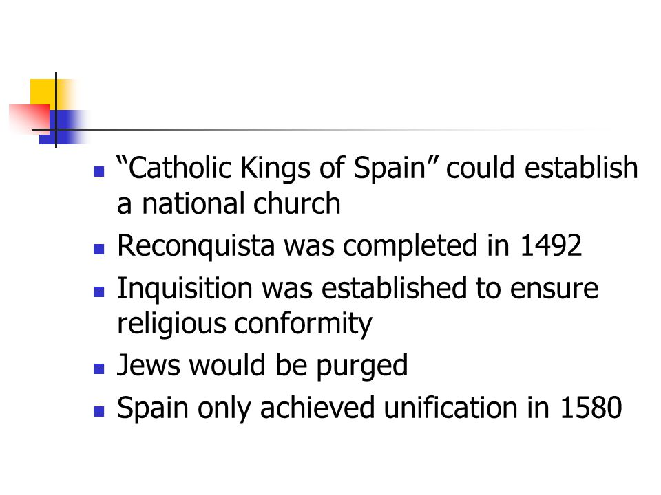 Catholic Kings of Spain could establish a national church
