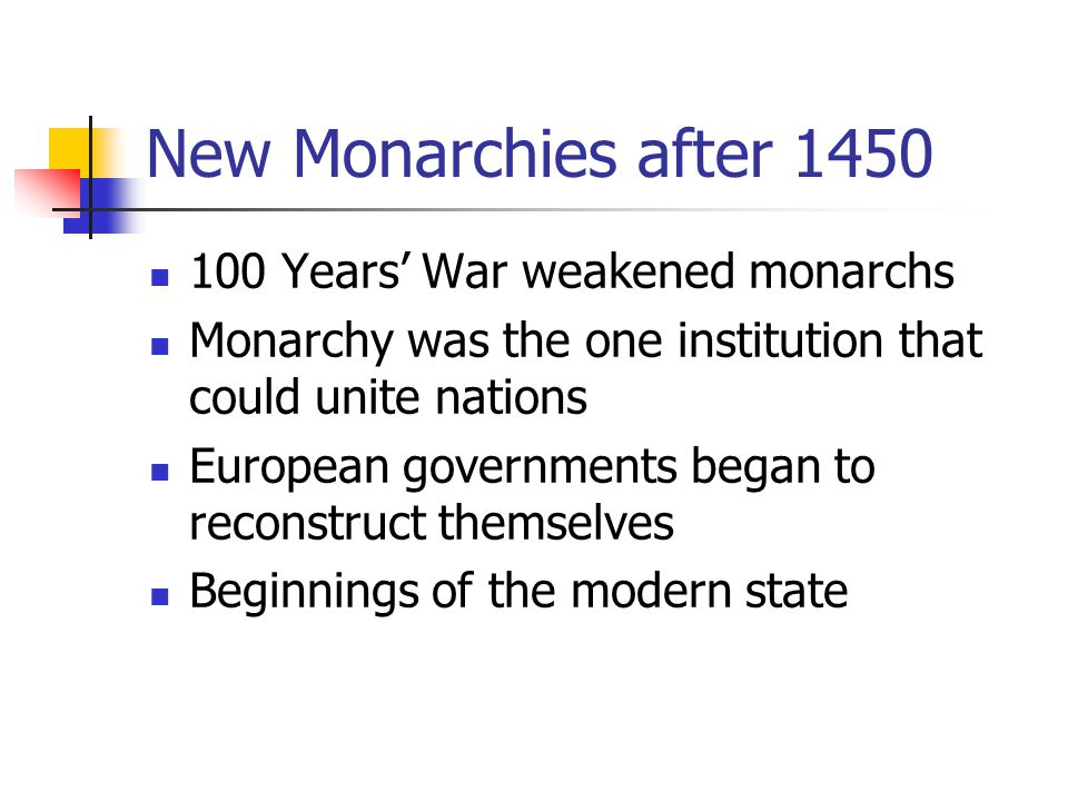 New Monarchies after Years' War weakened monarchs