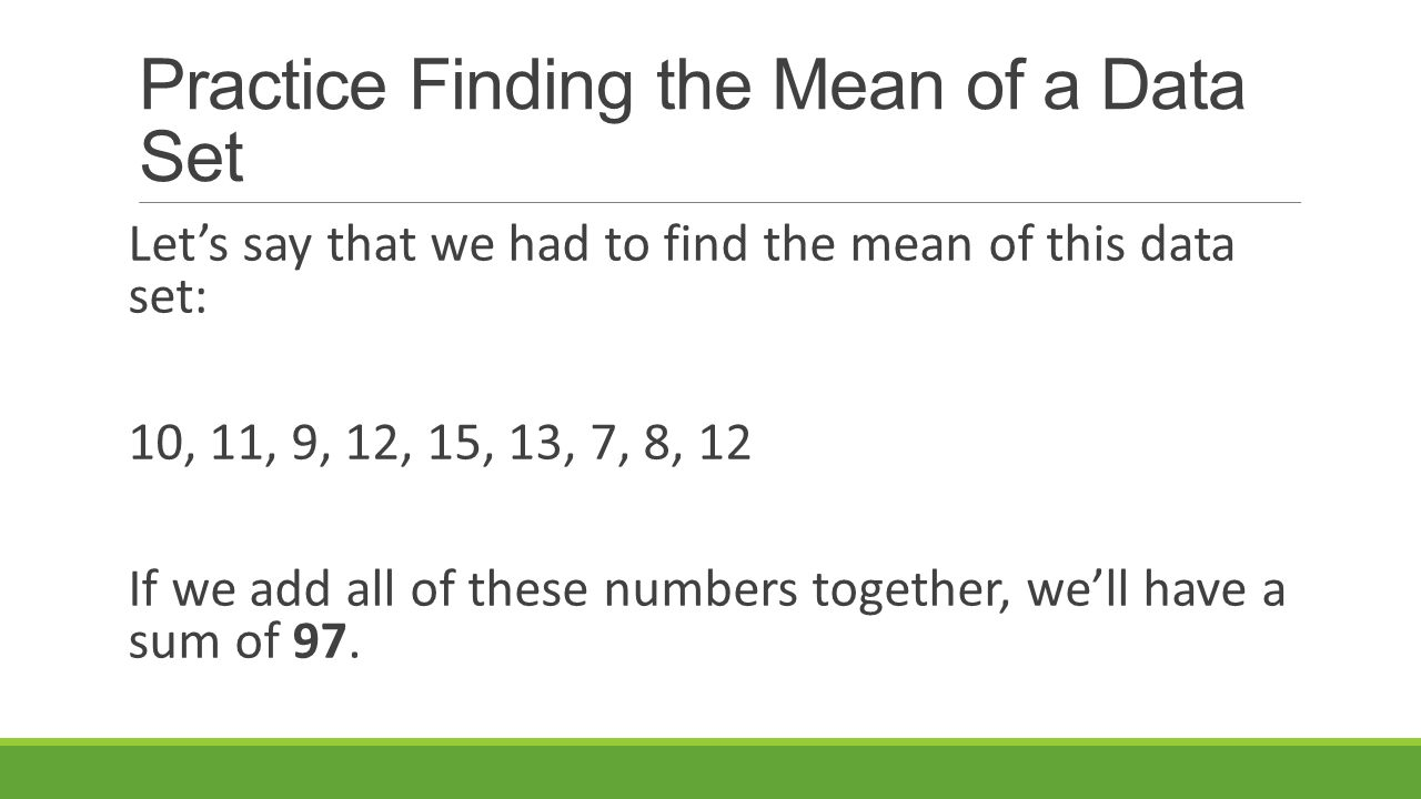 how to find the mean of a set of numbers