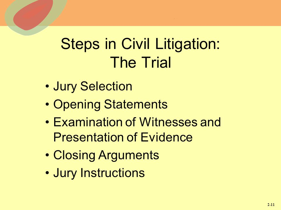 Steps in Civil Litigation: The Trial