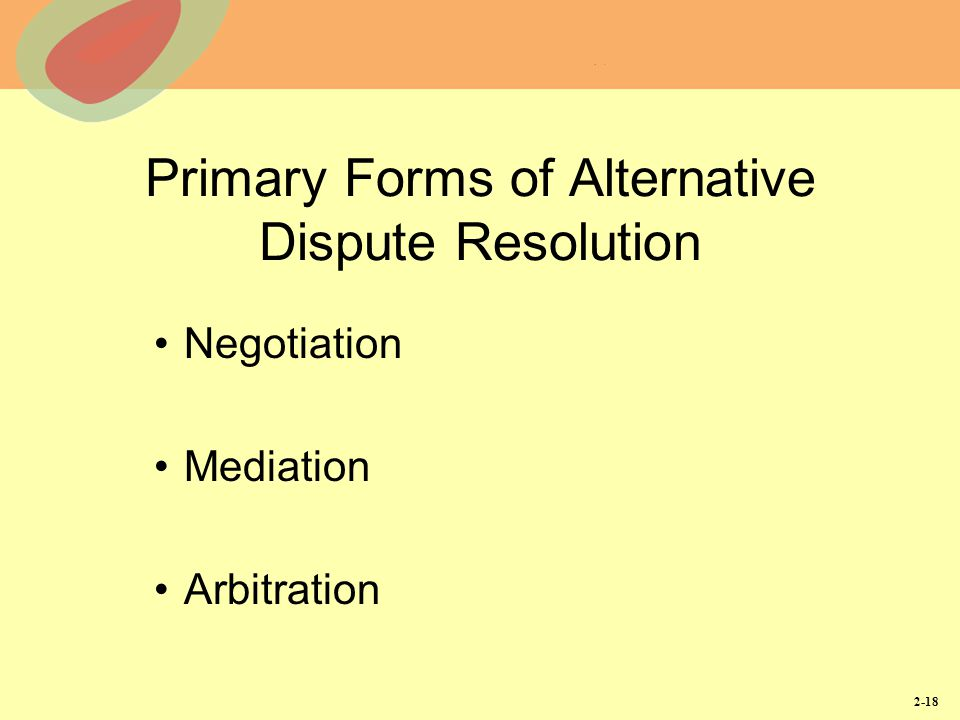 Primary Forms of Alternative Dispute Resolution