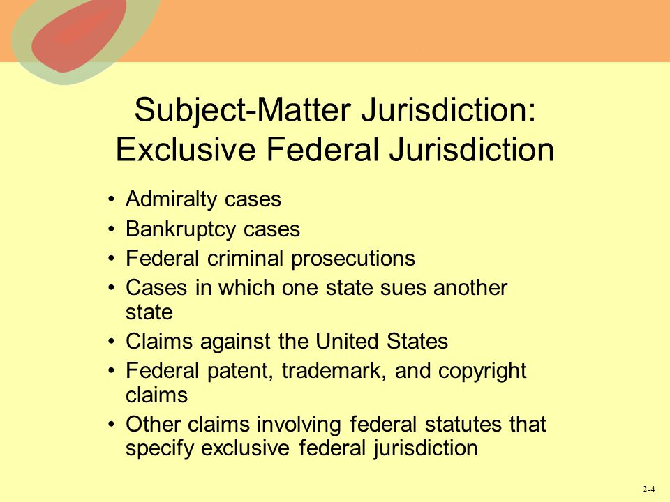 Subject-Matter Jurisdiction: Exclusive Federal Jurisdiction