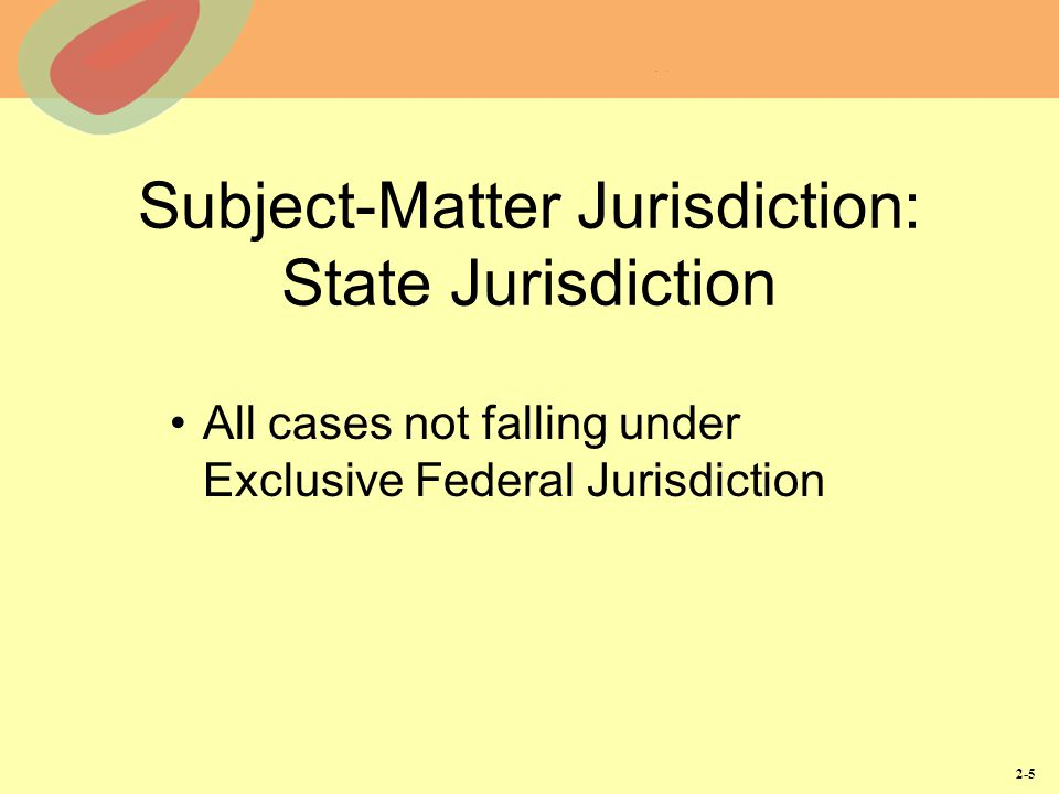 Subject-Matter Jurisdiction: State Jurisdiction