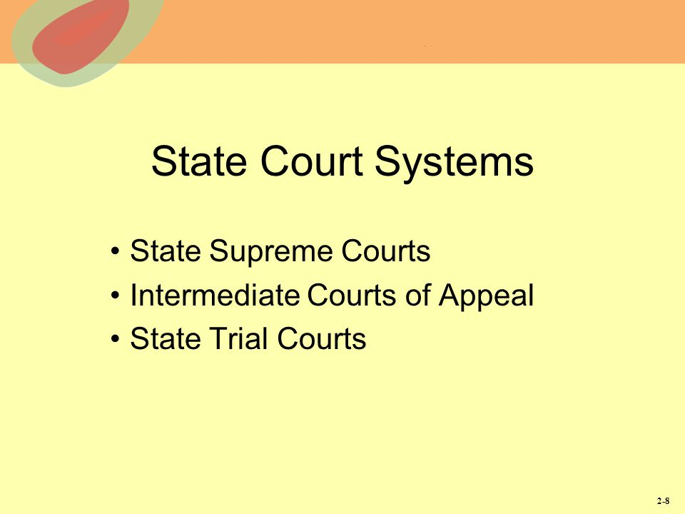 State Supreme Courts Intermediate Courts of Appeal State Trial Courts
