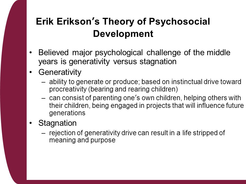 essay on eriksons theory of psychosocial development Mmary erikson's psychosocial development theory.