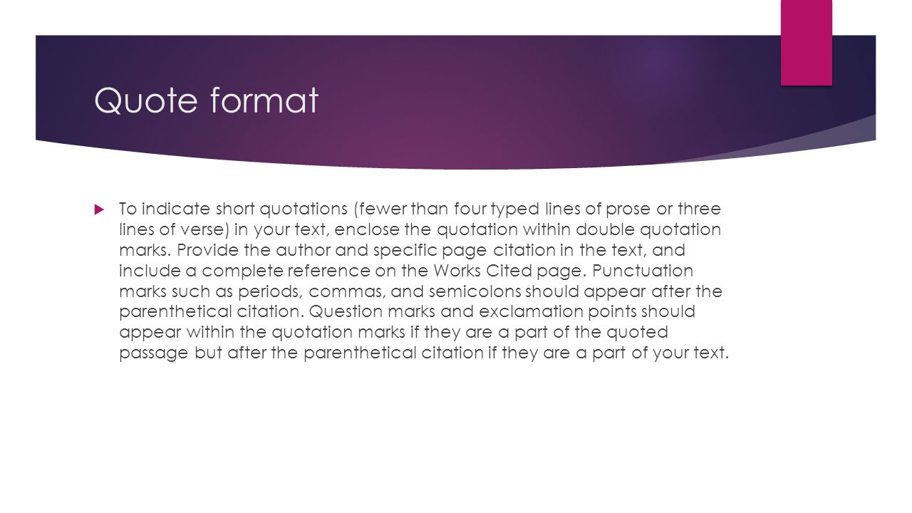 proper quotation format essay