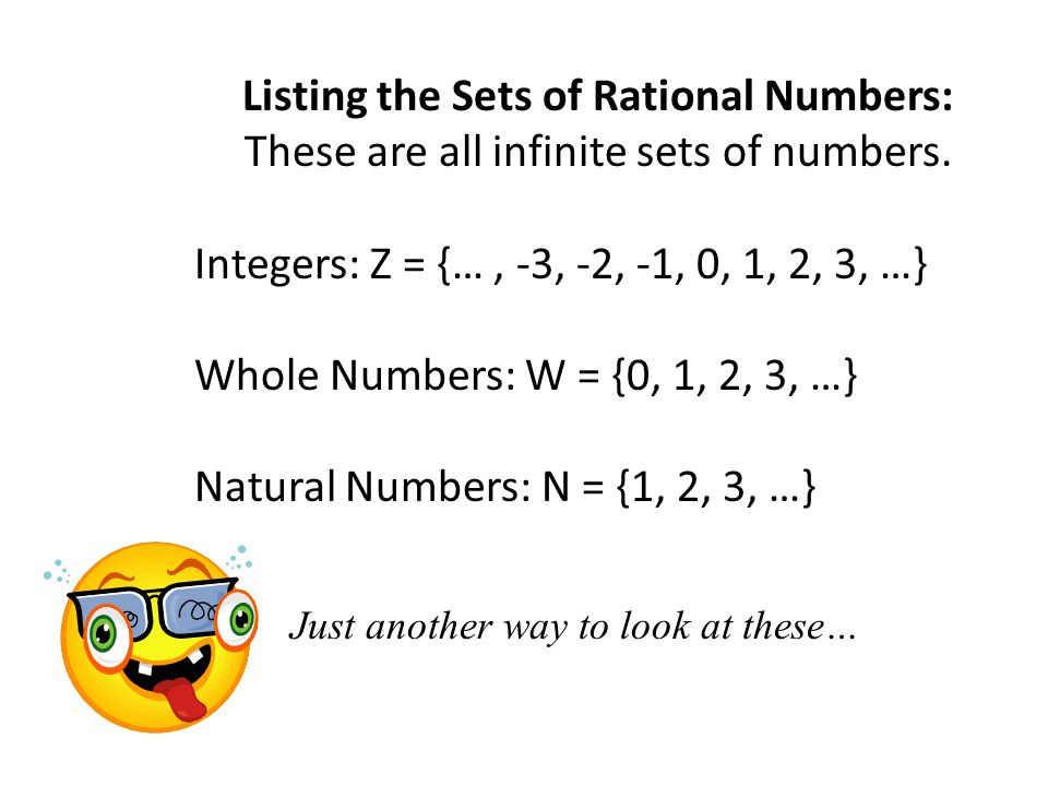 Listing the Sets of Rational Numbers: