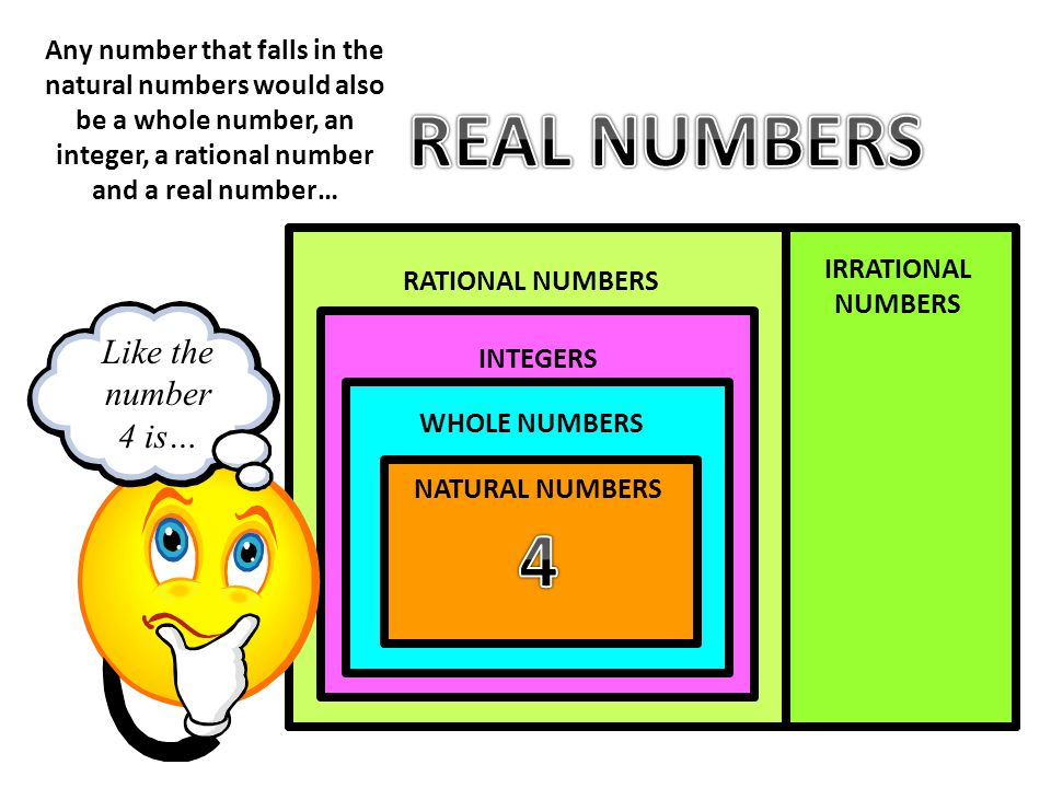 REAL NUMBERS 4 REAL NUMBERS Like the number 4 is…