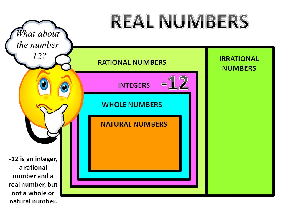REAL NUMBERS -12 REAL NUMBERS What about the number -12
