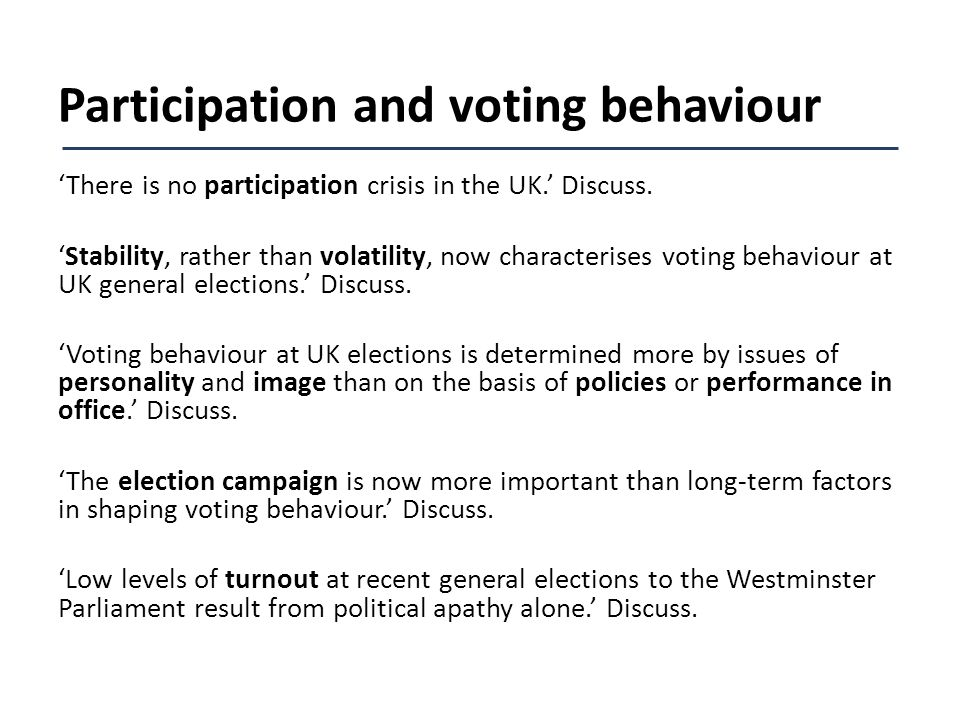 voting behaviour at uk elections Meaning of voting behaviour politics in the assembly election of 1990, voting behaviour was mainly 'influenced by the elders or the head of the more from uk.
