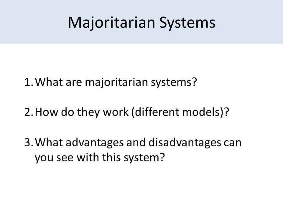 is a majoritarian or a proportional Mixed member proportional representation (mmp), also called the additional member system (ams), is a two-tier mixed electoral system combining a non- proportional plurality/majoritarian election and a compensatory regional or national party list pr election voters typically have two votes, one for their single -member.