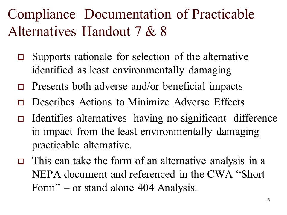 an analysis of the alternatives to the clean water dilemma September 1988 alternatives to ocean dumping: a municipal dilemma gina l  giusti  sion of the clean water act,33 a private citizen may sue illegal dumpers  in  rial7 1 the final analysis that must be made is whether the site is suitable.