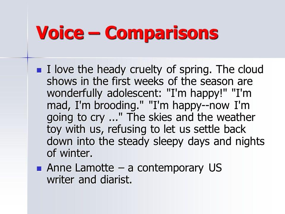 Voice – Comparisons