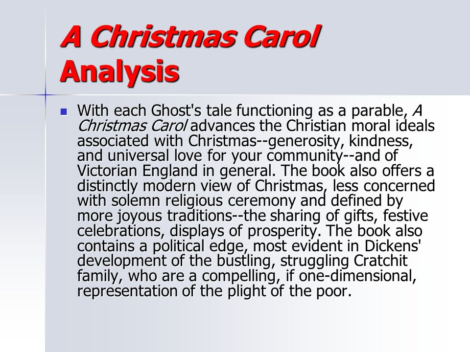 A Christmas Carol Analysis