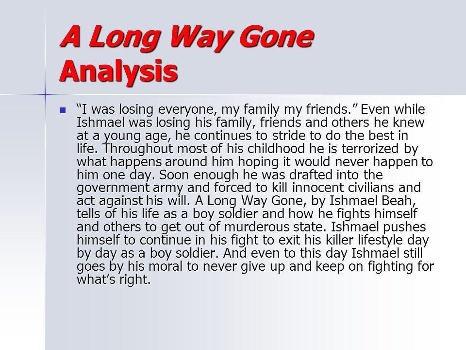 A Long Way Gone Analysis