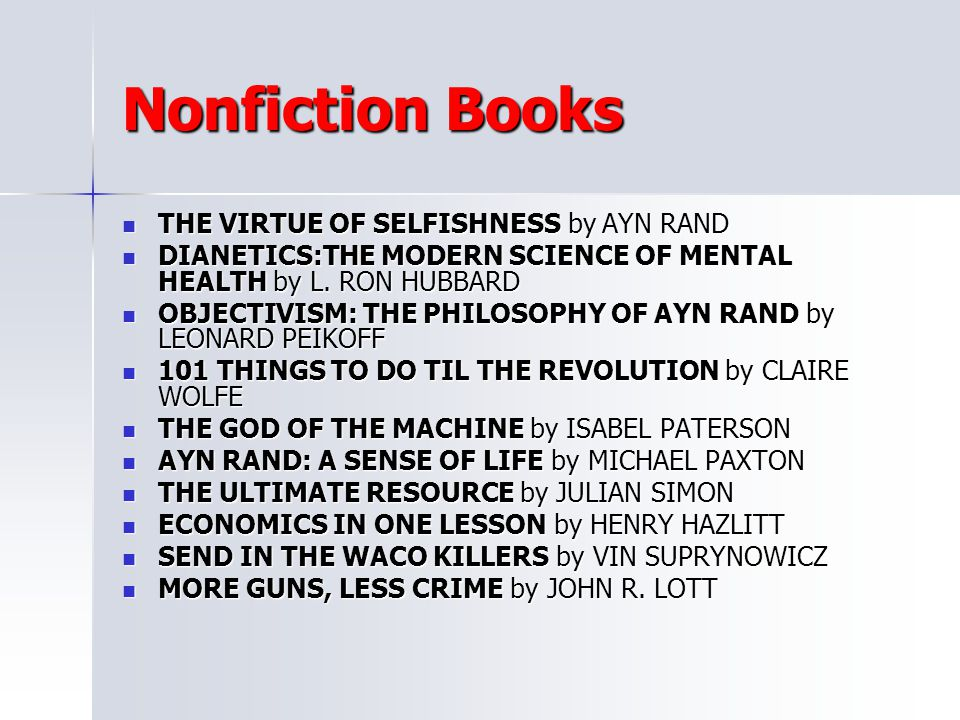 Nonfiction Books THE VIRTUE OF SELFISHNESS by AYN RAND