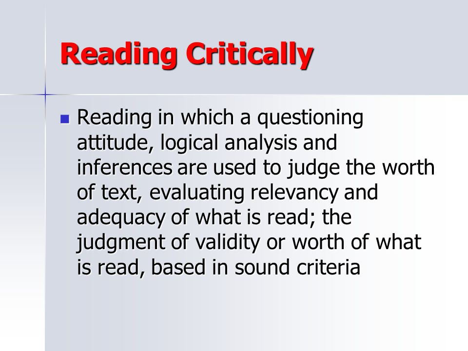 Reading Critically