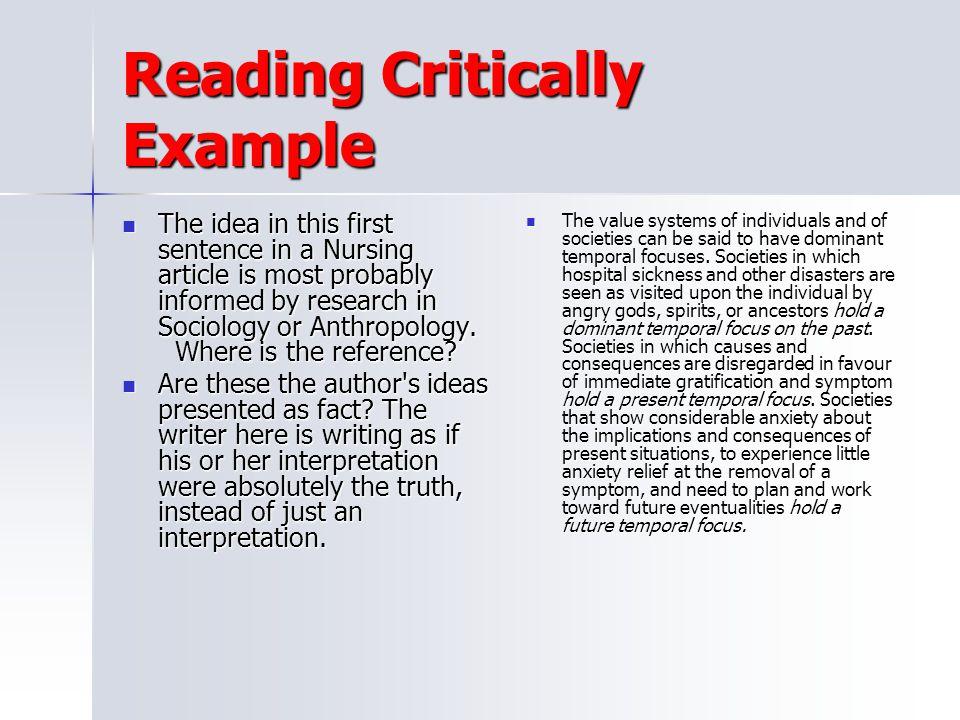 Reading Critically Example
