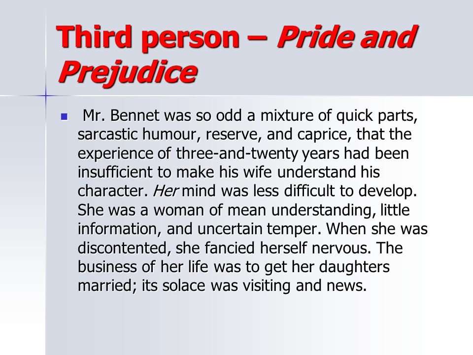 Third person – Pride and Prejudice