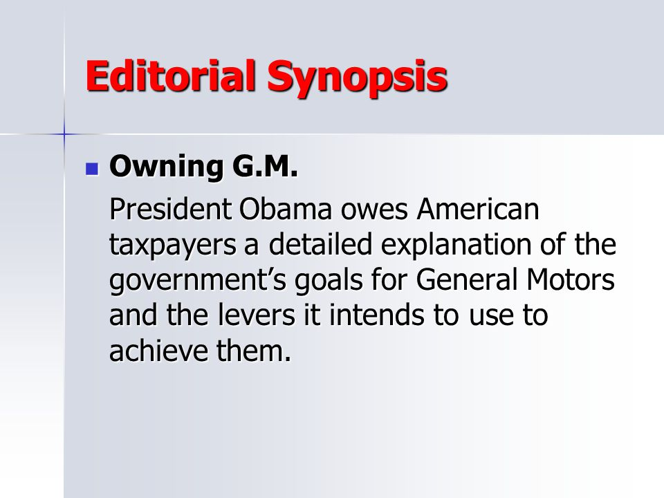 Editorial Synopsis Owning G.M.