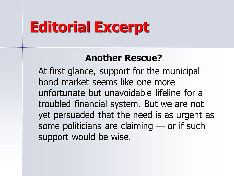 Editorial Excerpt Another Rescue