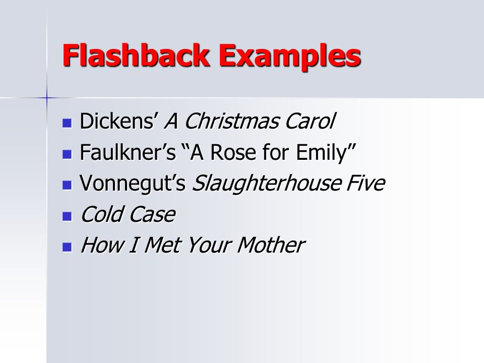Flashback Examples Dickens' A Christmas Carol