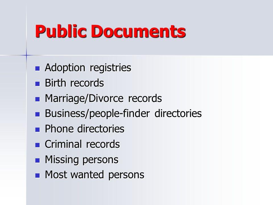 Public Documents Adoption registries Birth records