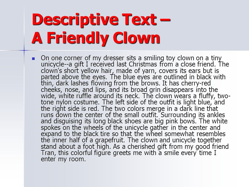 Descriptive Text – A Friendly Clown