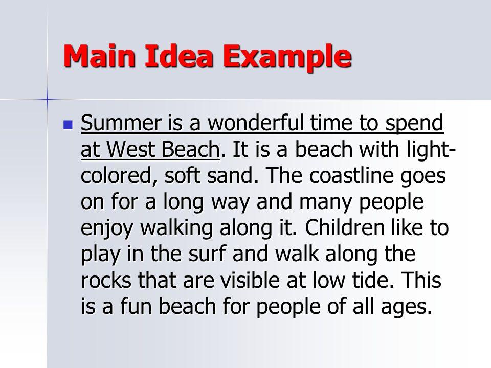Main Idea Example