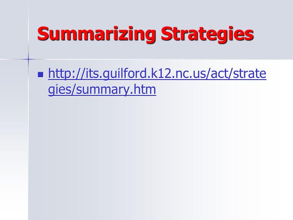 Summarizing Strategies
