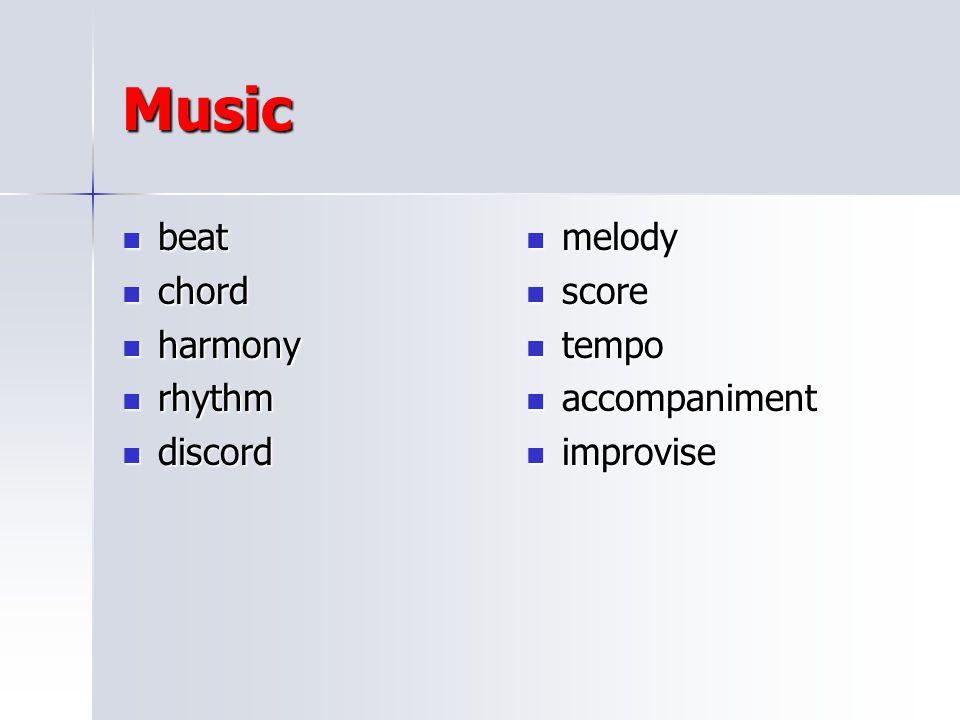 Music beat chord harmony rhythm discord melody score tempo