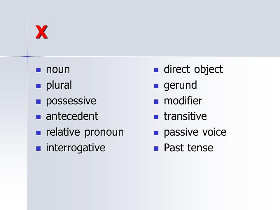 X noun plural possessive antecedent relative pronoun interrogative