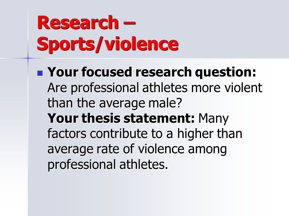 Research – Sports/violence