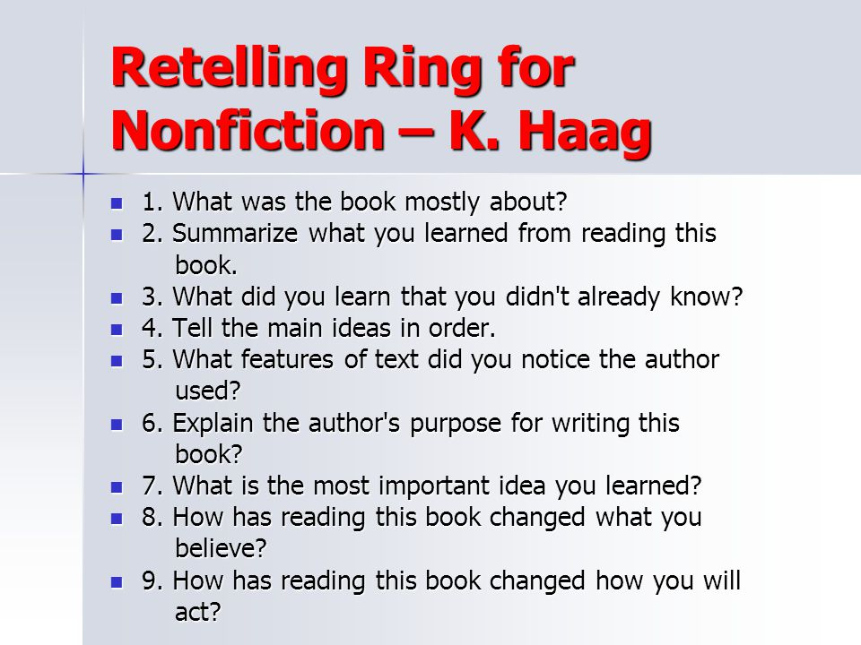 Retelling Ring for Nonfiction – K. Haag
